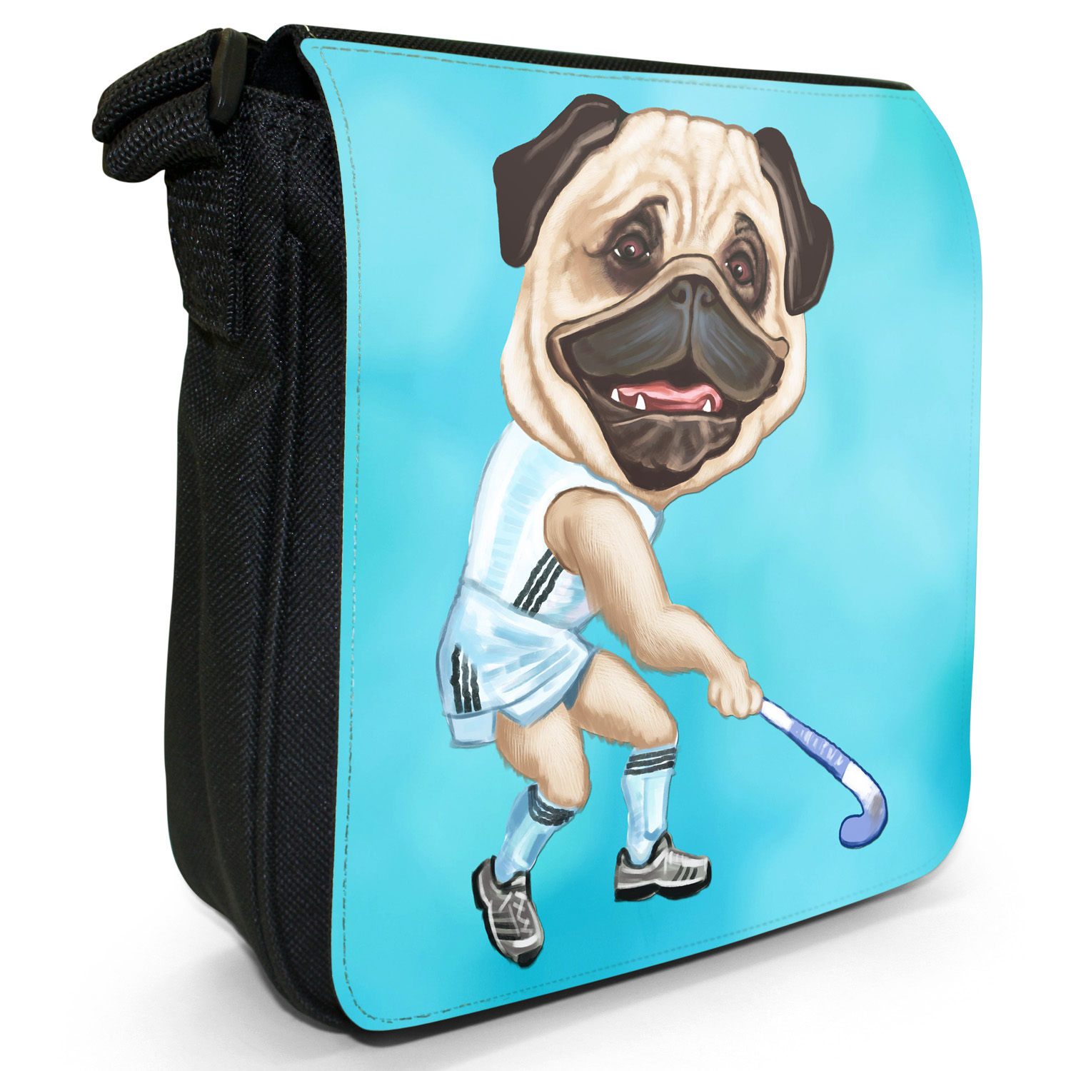 Pug-Sport-Athlete-Rugby-Football-Tennis-Small-Black-Canvas-Shoulder-Bag